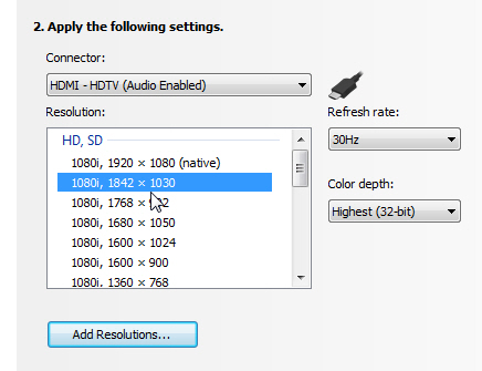 How do I setup my NVIDIA based graphics card to work with my HDTV?